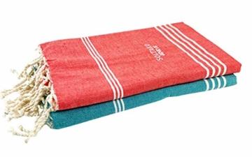 SOLTAKO XXL 2X Fouta Strandtuch Handtuch Saunatuch Badetuch Hamamtuch Yoga Decke Pestemal in Jade & Koralle Farben als 2er Geschenkset extra groß, 100 x 200 cm - 3