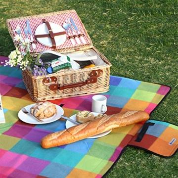 SONGMICS 195 x 150 cm Picknickdecke Fleece Wasserdicht GCM61C - 5