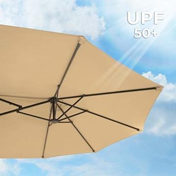 SONGMICS Doppelsonnenschirm 460 x 270 cm, extra großer Sonnenschirm, Gartenschirm, UV-Schutz bis UPF 50+, Terrassenschirm, mit Kurbel, Markt, Garten, Balkon, Outdoor, ohne Ständer, Taupe GPU36BR - 5