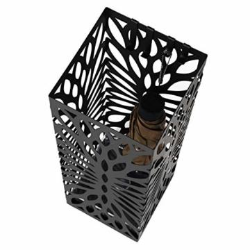 SONGMICS Regenschirmständer aus Metall, quadratischer Schirmständer, Wasserauffangschale herausnehmbar, mit Haken, 15,5 x 15,5 x 49 cm, Schwarz LUC48B - 5