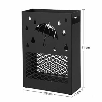 SONGMICS Regenschirmständer aus Metall, Schirmständer, rechteckig, mit einer herausnehmbaren Wasserauffangschale, 4 Haken, Cutout-Design, für den Flur und das Büro, schwarz LUC004B01 - 2