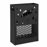 SONGMICS Regenschirmständer aus Metall, Schirmständer, rechteckig, mit einer herausnehmbaren Wasserauffangschale, 4 Haken, Cutout-Design, für den Flur und das Büro, schwarz LUC004B01 - 1