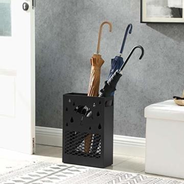 SONGMICS Regenschirmständer aus Metall, Schirmständer, rechteckig, mit einer herausnehmbaren Wasserauffangschale, 4 Haken, Cutout-Design, für den Flur und das Büro, schwarz LUC004B01 - 3