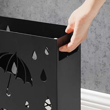 SONGMICS Regenschirmständer aus Metall, Schirmständer, rechteckig, mit einer herausnehmbaren Wasserauffangschale, 4 Haken, Cutout-Design, für den Flur und das Büro, schwarz LUC004B01 - 4