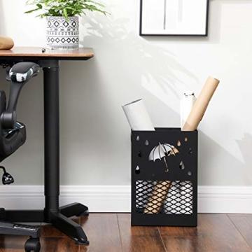 SONGMICS Regenschirmständer aus Metall, Schirmständer, rechteckig, mit einer herausnehmbaren Wasserauffangschale, 4 Haken, Cutout-Design, für den Flur und das Büro, schwarz LUC004B01 - 5