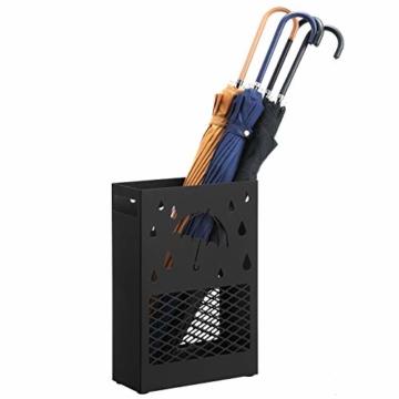 SONGMICS Regenschirmständer aus Metall, Schirmständer, rechteckig, mit einer herausnehmbaren Wasserauffangschale, 4 Haken, Cutout-Design, für den Flur und das Büro, schwarz LUC004B01 - 8