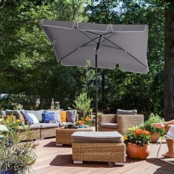 SONGMICS Sonnenschirm für Balkon, rechteckiger Gartenschirm, 180 x 125 cm, UV-Schutz bis UPF 50+, knickbar, Schirmtuch mit PA-Beschichtung, für Garten, Terrasse, ohne Ständer, grau GPU180G01 - 3