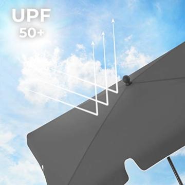 SONGMICS Sonnenschirm für Balkon, rechteckiger Gartenschirm, 180 x 125 cm, UV-Schutz bis UPF 50+, knickbar, Schirmtuch mit PA-Beschichtung, für Garten, Terrasse, ohne Ständer, grau GPU180G01 - 4