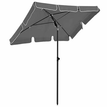 SONGMICS Sonnenschirm für Balkon, rechteckiger Gartenschirm, 180 x 125 cm, UV-Schutz bis UPF 50+, knickbar, Schirmtuch mit PA-Beschichtung, für Garten, Terrasse, ohne Ständer, grau GPU180G01 - 1