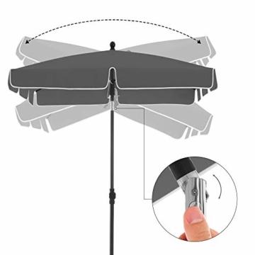 SONGMICS Sonnenschirm für Balkon, rechteckiger Gartenschirm, 180 x 125 cm, UV-Schutz bis UPF 50+, knickbar, Schirmtuch mit PA-Beschichtung, für Garten, Terrasse, ohne Ständer, grau GPU180G01 - 5