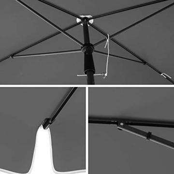SONGMICS Sonnenschirm für Balkon, rechteckiger Gartenschirm, 180 x 125 cm, UV-Schutz bis UPF 50+, knickbar, Schirmtuch mit PA-Beschichtung, für Garten, Terrasse, ohne Ständer, grau GPU180G01 - 6