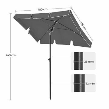 SONGMICS Sonnenschirm für Balkon, rechteckiger Gartenschirm, 180 x 125 cm, UV-Schutz bis UPF 50+, knickbar, Schirmtuch mit PA-Beschichtung, für Garten, Terrasse, ohne Ständer, grau GPU180G01 - 7