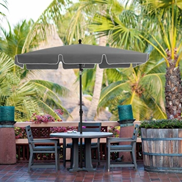 SONGMICS Sonnenschirm für Balkon, rechteckiger Gartenschirm, 180 x 125 cm, UV-Schutz bis UPF 50+, knickbar, Schirmtuch mit PA-Beschichtung, für Garten, Terrasse, ohne Ständer, grau GPU180G01 - 8