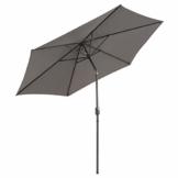 Sonnenschirm Ø 290cm Stahl Gestell UV Schutz UPF 50+ Gartenschirm Marktschirm mit Kurbel und neigbar Schirmstoff anthrazit wasser- und schmutzabweisend Höhe 230 cm - 1