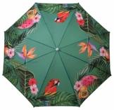 Sonnenschirm UV-Schutz 40+ Strandschirm Balkonschirm Schirm grün bunt mit Papagei tropisch Ø 155 cm - 1