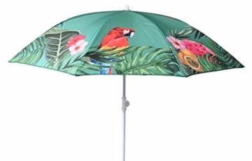 Sonnenschirm UV-Schutz 40+ Strandschirm Balkonschirm Schirm grün bunt mit Papagei tropisch Ø 155 cm - 3