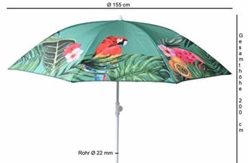 Sonnenschirm UV-Schutz 40+ Strandschirm Balkonschirm Schirm grün bunt mit Papagei tropisch Ø 155 cm - 4