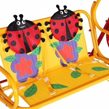 Spielwerk Hollywoodschaukel mit Sonnendach und Sicherheitsgurten 2 Sitzer Gartenschaukel Schaukelbank Doppelschaukel für Kinder - 2