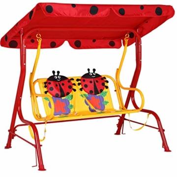 Spielwerk Hollywoodschaukel mit Sonnendach und Sicherheitsgurten 2 Sitzer Gartenschaukel Schaukelbank Doppelschaukel für Kinder - 1