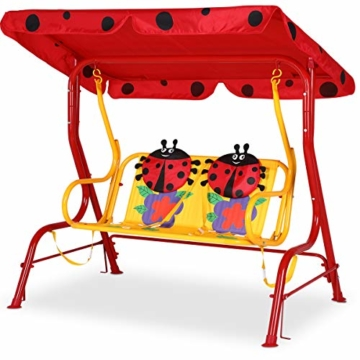 Spielwerk Hollywoodschaukel mit Sonnendach und Sicherheitsgurten 2 Sitzer Gartenschaukel Schaukelbank Doppelschaukel für Kinder - 8