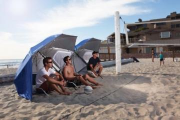 Sport-Brella Umbrella Sonnenschirm für Strand und Garten, Robust, Schutz vor Sonne, Regen und Wind, Mit Tragetasche, Blau, 54'' / 136cm - 3