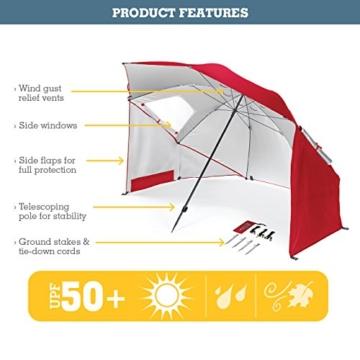 Sport-Brella Umbrella Sonnenschirm für Strand und Garten, Robust, Schutz vor Sonne, Regen und Wind, Mit Tragetasche, Blau, 54'' / 136cm - 4