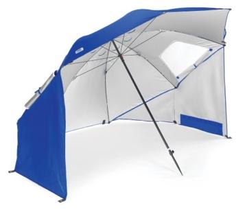 Sport-Brella Umbrella Sonnenschirm für Strand und Garten, Robust, Schutz vor Sonne, Regen und Wind, Mit Tragetasche, Blau, 54'' / 136cm - 1