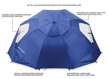 Sport-Brella Umbrella Sonnenschirm für Strand und Garten, Robust, Schutz vor Sonne, Regen und Wind, Mit Tragetasche, Blau, 54'' / 136cm - 5