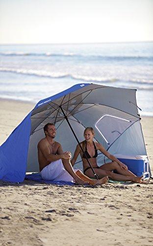 Sport-Brella Umbrella Sonnenschirm für Strand und Garten, Robust, Schutz vor Sonne, Regen und Wind, Mit Tragetasche, Blau, 54'' / 136cm - 6