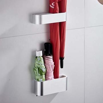 Sport Tent-Schirmständer Wand Regenschirmständer Wasserauffangschale Wandschirmständer für Flur Zuhause und Büro (Matt Silber) - 1