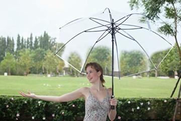 Sternenfunke Regenschirm sehr groß XXXL Ø150 cm transparent, Komfort Druckknopf, mit Tragehülle, Automatik, Perfekt als durchsichtiger Partnerschirm, Hochzeitsschirm oder Golfschirm - Rand weiß - 2