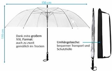 Sternenfunke Regenschirm sehr groß XXXL Ø150 cm transparent, Komfort Druckknopf, mit Tragehülle, Automatik, Perfekt als durchsichtiger Partnerschirm, Hochzeitsschirm oder Golfschirm - Rand weiß - 4