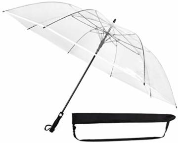 Sternenfunke Regenschirm sehr groß XXXL Ø150 cm transparent, Komfort Druckknopf, mit Tragehülle, Automatik, Perfekt als durchsichtiger Partnerschirm, Hochzeitsschirm oder Golfschirm - Rand weiß - 1