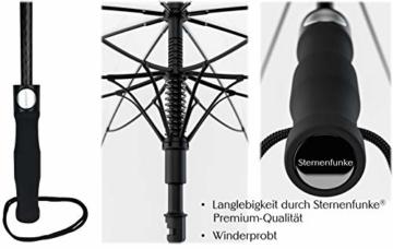 Sternenfunke Regenschirm sehr groß XXXL Ø150 cm transparent, Komfort Druckknopf, mit Tragehülle, Automatik, Perfekt als durchsichtiger Partnerschirm, Hochzeitsschirm oder Golfschirm - Rand weiß - 5