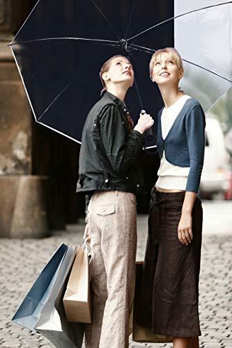 Sternenfunke Regenschirm sehr groß XXXL Ø150 cm transparent, Komfort Druckknopf, mit Tragehülle, Automatik, Perfekt als durchsichtiger Partnerschirm, Hochzeitsschirm oder Golfschirm - Rand weiß - 6