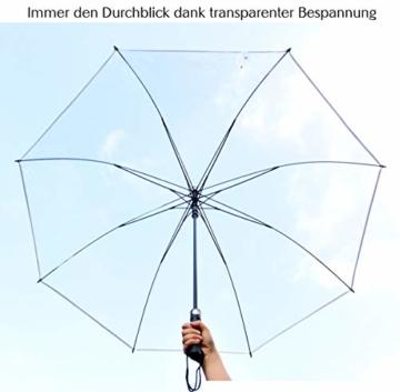 Sternenfunke Regenschirm sehr groß XXXL Ø150 cm transparent, Komfort Druckknopf, mit Tragehülle, Automatik, Perfekt als durchsichtiger Partnerschirm, Hochzeitsschirm oder Golfschirm - Rand weiß - 7