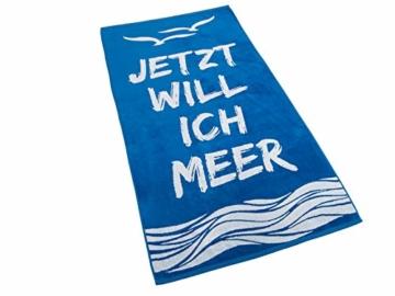 Strandtuch, Badetuch 170 x 90 Frottee-Velour Liegetuch Strandtuch Trockentuch (Blau - Ich Will Meer) - 1