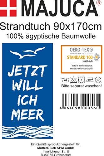 Strandtuch, Badetuch 170 x 90 Frottee-Velour Liegetuch Strandtuch Trockentuch (Blau - Ich Will Meer) - 7