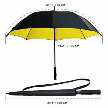 Superbison Dual Layer Golfschirm 62 Zoll Extra Groß Schirme Automatisch Öffnen Stark Winddichte Wasserdichte Regenschirm (Gelb 155cm) - 2