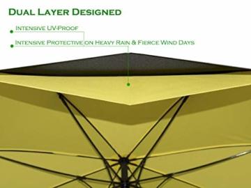 Superbison Dual Layer Golfschirm 62 Zoll Extra Groß Schirme Automatisch Öffnen Stark Winddichte Wasserdichte Regenschirm (Gelb 155cm) - 4