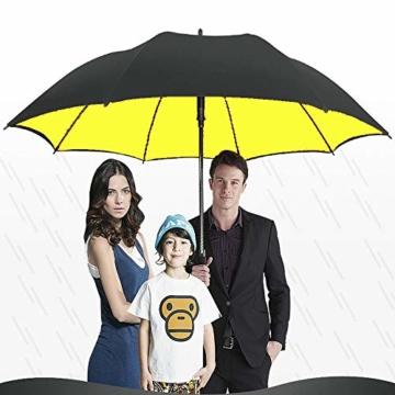 Superbison Dual Layer Golfschirm 62 Zoll Extra Groß Schirme Automatisch Öffnen Stark Winddichte Wasserdichte Regenschirm (Gelb 155cm) - 6