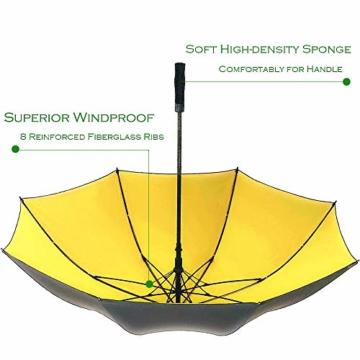 Superbison Dual Layer Golfschirm 62 Zoll Extra Groß Schirme Automatisch Öffnen Stark Winddichte Wasserdichte Regenschirm (Gelb 155cm) - 7