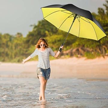 Superbison Dual Layer Golfschirm 62 Zoll Extra Groß Schirme Automatisch Öffnen Stark Winddichte Wasserdichte Regenschirm (Gelb 155cm) - 9