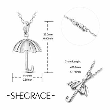 Sweetiee 925 Sterling Silber Regenschirm Anhaenger Halsketten Damenschmuck Mit Geschenkbox Liebe Elegant Schoen - 4