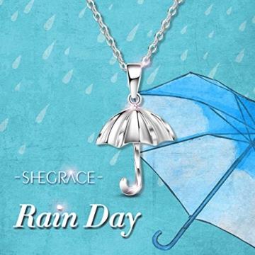 Sweetiee 925 Sterling Silber Regenschirm Anhaenger Halsketten Damenschmuck Mit Geschenkbox Liebe Elegant Schoen - 7