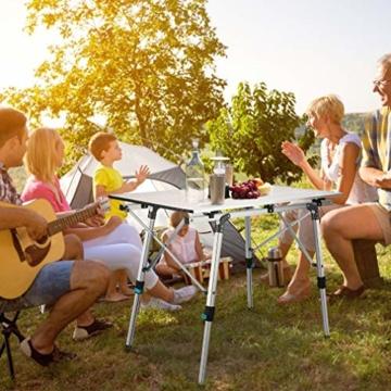 Synlyn Tragbar Campingtisch Klapptisch 90 x 52 x (45-67) cm Aluminium Camping Tisch Falttisch Reisetisch für Camping Outdoor Picknick BBQ Wandern Reise Angeln - Silber, Schwarz - 3