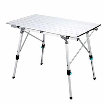 Synlyn Tragbar Campingtisch Klapptisch 90 x 52 x (45-67) cm Aluminium Camping Tisch Falttisch Reisetisch für Camping Outdoor Picknick BBQ Wandern Reise Angeln - Silber, Schwarz - 1