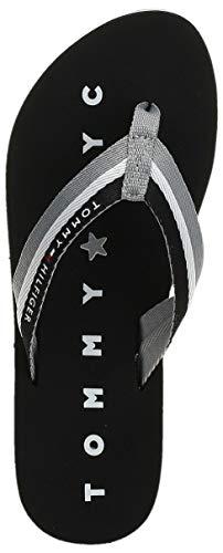 Tommy Hilfiger Damen Tommy Loves NY Beach Sandal Zehentrenner, Schwarz (Black 990), 39 EU - 4