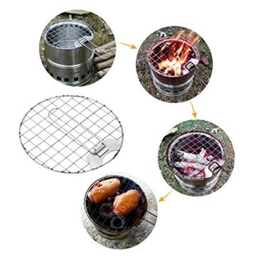 TOMSHOO Holzofen Tragbar Hobo Ofen Campingkocher Holzvergaser Klapp und Winddicht Kompakt Edelstahl Herd für Outdoor Camping Picknick BBQ - 4
