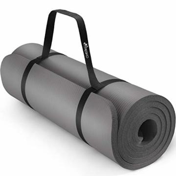 TRESKO Yogamatte Phthalatfrei - Gymnastikmatte rutschfest, Pilatesmatte Fitnessmatte mit Tragegurt, 185 x 60 x 1,0 cm - 1
